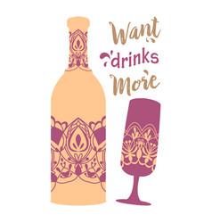 Simple purple design for bottle wine and glass vector