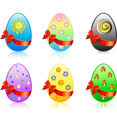 six easter eggs vector image