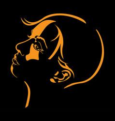 sketch a woman head on black vector image