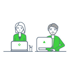 Smart businessman and woman by laptop team vector