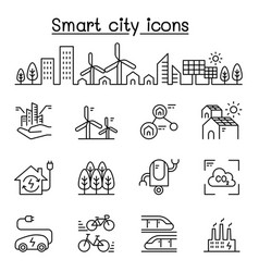 smart city sustainable town eco friendly city vector image