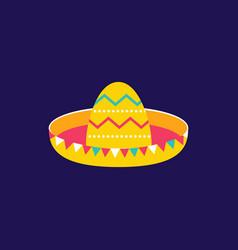 sombrero icon flat style cinco de mayo festival vector image