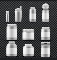 Sport supplement plastic jar containers for drinks vector