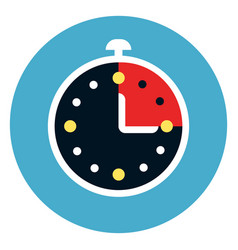stop watch icon on round blue background vector image