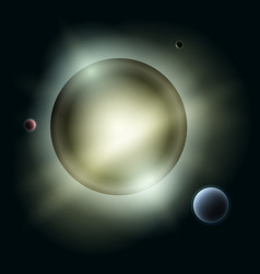 Sun with planets in space vector