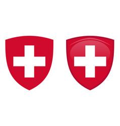 Switzerland coat arms white helvetic cross in vector