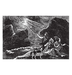The annunciation to the shepherds vintage vector