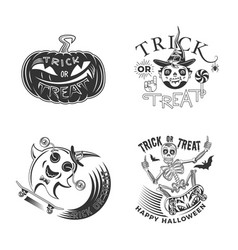 trick or treat design set vector image