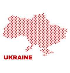 ukraine map - mosaic of lovely hearts vector image