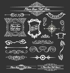 Vintage floral decorative border and lines element vector image