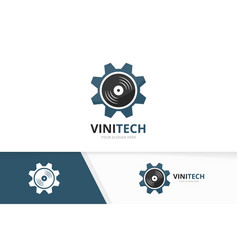 Vinyl and gear logo combination record and vector