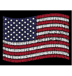 Waving american flag stylized composition of ammo vector