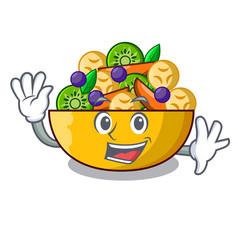 Waving cartoon bowl healthy fresh fruit salad vector