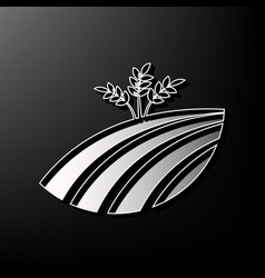 wheat field sign gray 3d printed icon on vector image vector image