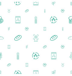 Wheat icons pattern seamless white background vector