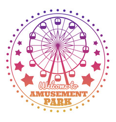 amusement park welcome emblem logo isolated on vector image vector image