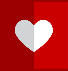 flat white heart on red background vector image