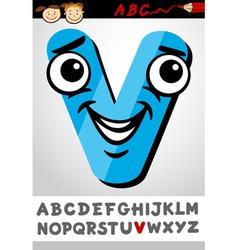 funny letter v cartoon vector image vector image