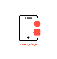Message logo with outline phone vector