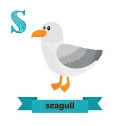 Seagull S letter Cute children animal alphabet in vector image