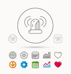 Siren alarm icon alert flashing light sign vector