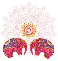 Two elephants over mandala pattern vector
