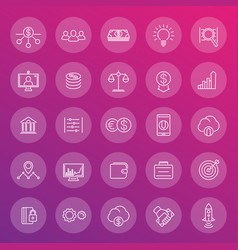 venture capital line icons set start-up forex vector image vector image