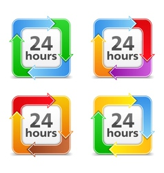 24 Hours Icons vector image vector image