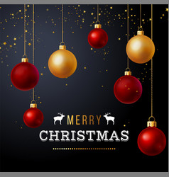 christmas background with red and gold balls vector image vector image