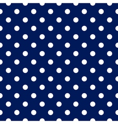 seamless pattern - blue with white polka dots vector image