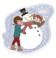 two happy girls building a snowman vector image vector image