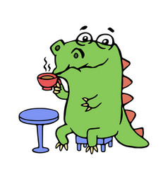 cute dinosaur sitting in a cafe vector image vector image