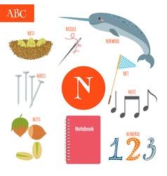 Letter N Cartoon alphabet for children Nest needle vector image vector image