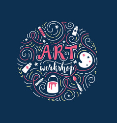 art workshop or tutorial lettering and doodles vector image vector image