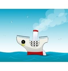 Cute small cartoon cruise liner vector image