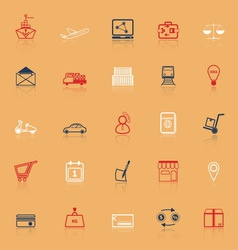 International business line icons with reflect vector image