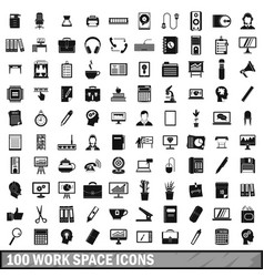 100 work space icons set simple style vector image