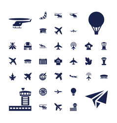 37 flight icons vector