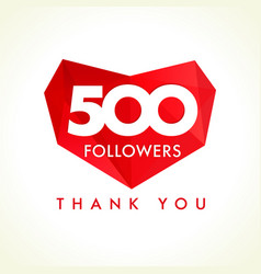 500 followers thank you heart vector