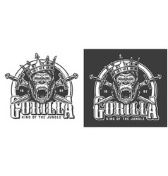 angry gorilla in crown vintage label vector image