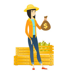 asian farmer holding a money bag vector image