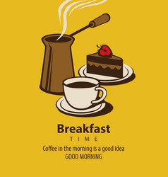 Banner for breakfast time with coffee and cake vector