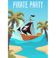 banner for pirate party or treasure hunting quest vector image