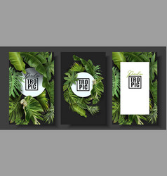 Banners set with green tropical leaves vector
