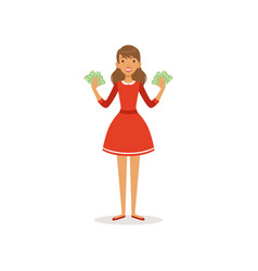 beautiful happy young successful rich woman vector image