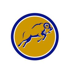Bighorn sheep jumping circle retro vector