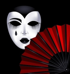 black-white mask and red fan vector image