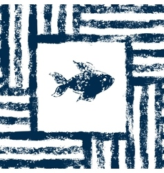 Blue and white fish in a striped frame woven vector image