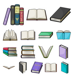 Book in the binding cartoon icons in set vector