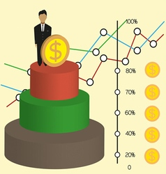 Business infographic with 3d money chart and diagr vector image